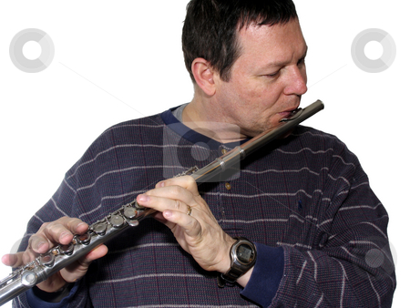 Man playing flute stock photo, Man playing a flute isolated over white by Anita Peppers