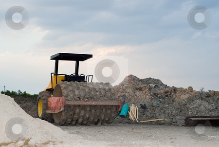 Steam Roller stock photo, A steam roller located in a construction zone by Richard Nelson