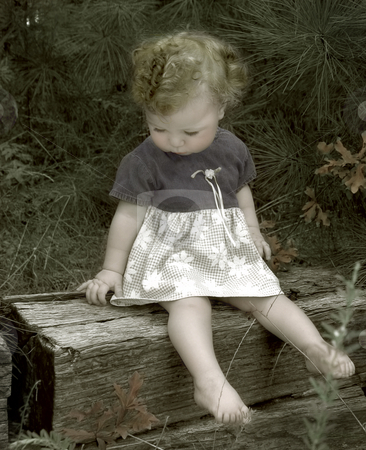 Summer baby stock photo, Vintage style selective coloring on black and white portrait of a baby sitting outdoors by Anita Peppers