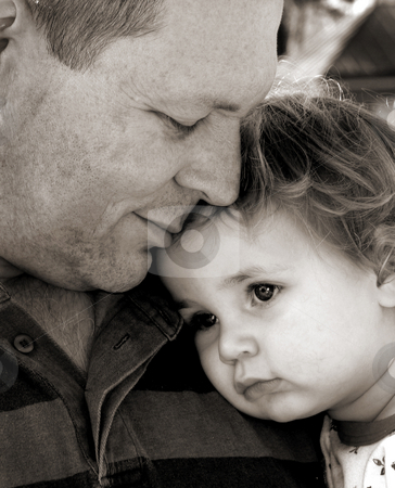 Daddy stock photo, Father and child in black and white by Anita Peppers