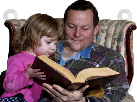 Reading a story stock photo, Father reading a story to toddler daughter isolated on white by Anita Peppers