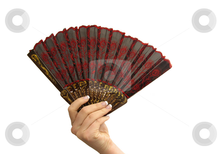 Hand with fan stock photo, Woman's manicured hand with fan against white background by Anita Peppers