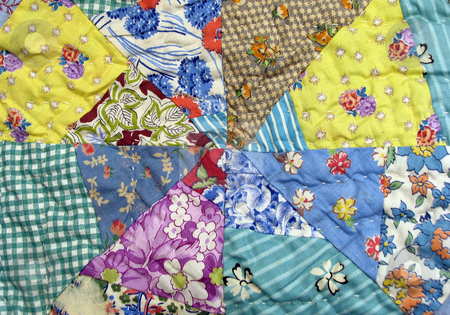 Quilt stock photo, Vintage handmade quilt by Anita Peppers