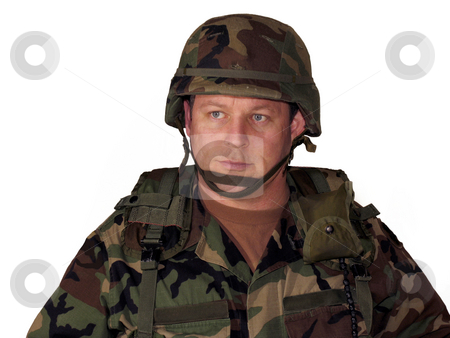 American soldier on white stock photo, American soldier with helmet and gear isolated on white by Anita Peppers