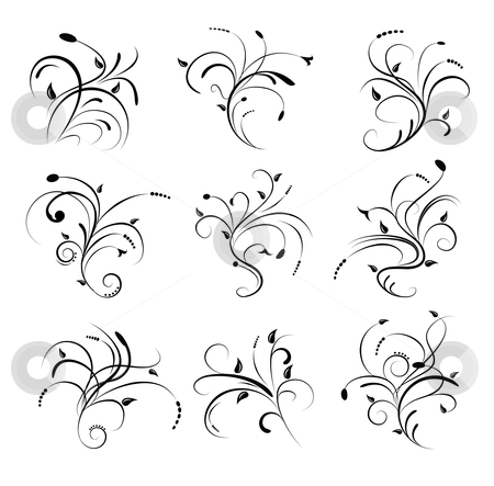 Floral Scrolls stock vector clipart, Illustration of floral scrolls as design elements by Stephanie Soon