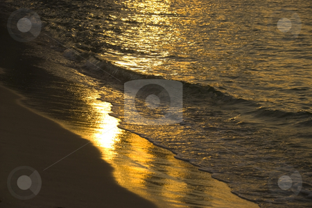 Sunset wave stock photo, A beach and waves at sunset by Stefan Breton