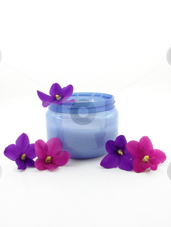 Concept of beauty stock photo, Body cream and beauty violets, isolated over white. by Nedim Juki?