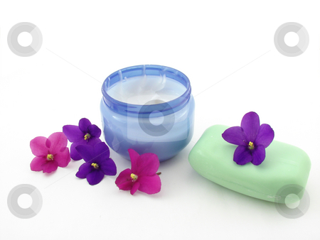 Concept of beauty stock photo, Cream, soap and violet flowers, isolated. by Nedim Juki?