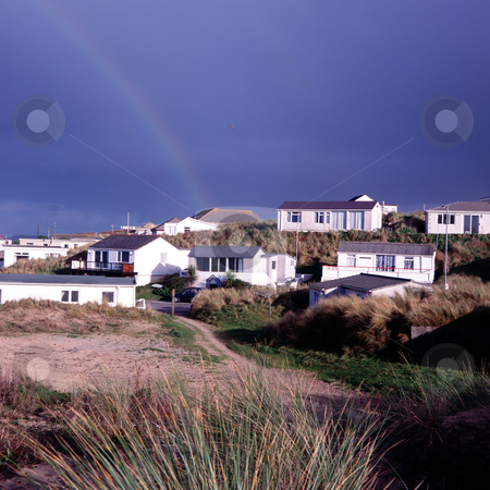 MPIXIS250303 stock photo, Rainbow over coastal village by Mpixis World