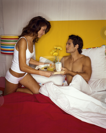 MPIXIS590002 stock photo, Young couple having breakfast in bed by Mpixis World