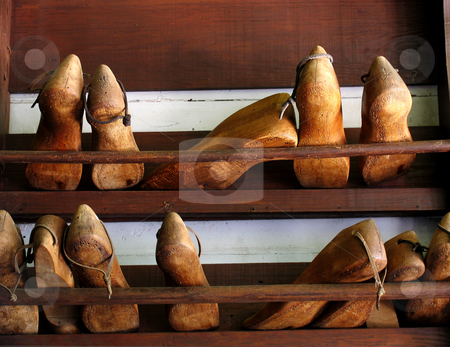 Cobbler shoe forms stock photo, Old wooden cobbler shoe forms by Anita Peppers
