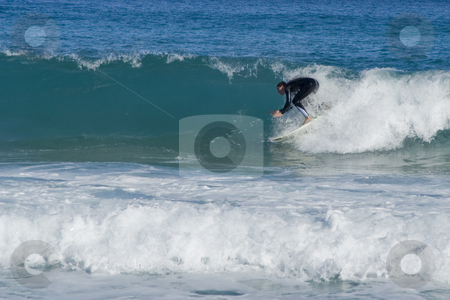 Surfer in the wave stock photo, Surfing in French riviera - Mediterranean sea. by Serge VILLA