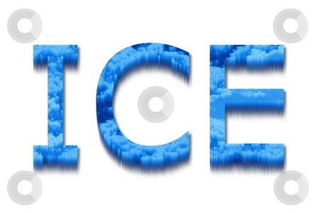 Ice stock photo, The word ice with a blue and icy texture. by Henrik Lehnerer