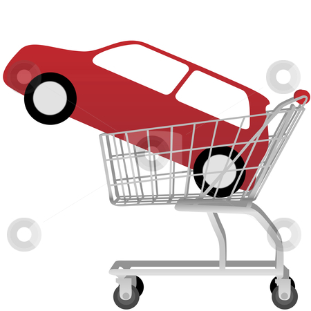 Big red auto inside a shopping cart stock vector clipart, Car Buying: a big red automobile inside a shopping cart, on white. by Michael Brown