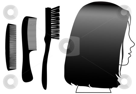 Hiny black hair female face profile & comb brush set stock vector clipart, Hair care set: A model profile with clean shiny brunette hair, and 2 styling combs and a hairbrush. by Michael Brown