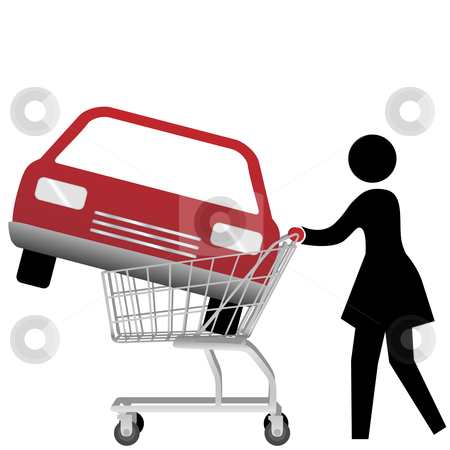 Woman car shopper buying auto inside shopping cart stock vector clipart, A woman car shopper buying a red auto inside a shopping cart. by Michael Brown