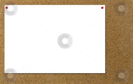 Notice stock photo, Blank white paper tacked to a bulletin board by Anita Peppers