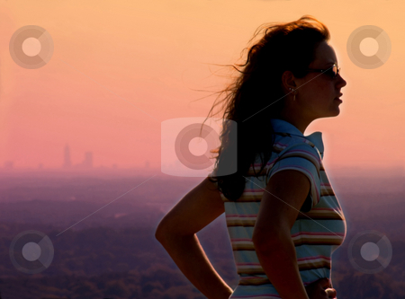 Sunset girl stock photo,  by Anita Peppers