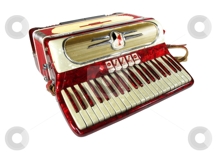 Accordion on white stock photo, 1950's accordion isolated on white by Anita Peppers