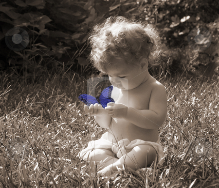 Exploration stock photo, Baby in sepia playing with colorized buttterfly by Anita Peppers