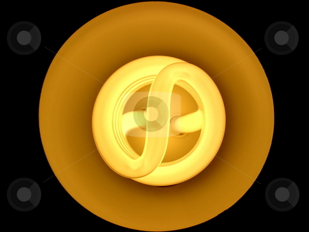 Fluorescent light. stock photo, Overhead view of fluorescent light bulb on black. by Todd Dixon