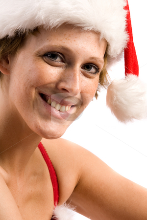 Flirting beautiful Christmas faerie stock photo, Studio portrait of blond christmas girl smiling at you by Frenk and Danielle Kaufmann