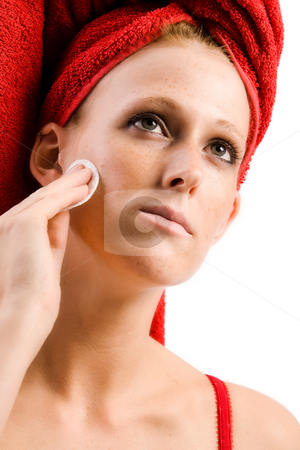 Beautiful wellness girl with  red towel on her head cleansing he stock photo, Studio portrait of a beautifull girl cleansing by Frenk and Danielle Kaufmann