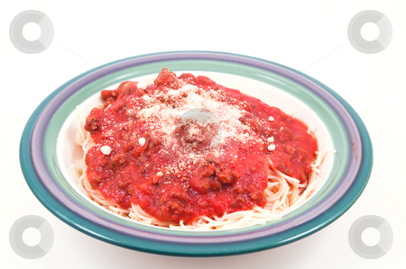 Spaghetti stock photo, A heaping bowl full of delicious spaghetti and sauce. by Robert Byron