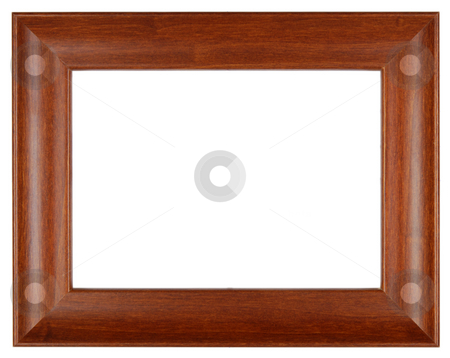 Brown picture frame stock photo, An empty brown wooden frame  isolated on white by Csaba Zsarnowszky