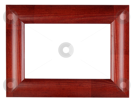 Red photo frame stock photo, An empty red wooden frame, isolated on white by Csaba Zsarnowszky