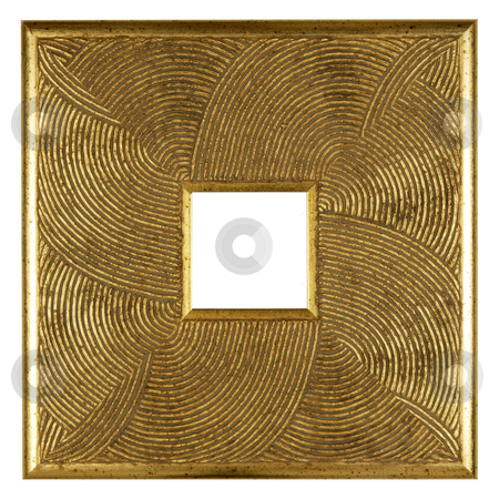 Gold plated wooden picture frame stock photo, An empty gold wooden picture frame, isolated on white by Csaba Zsarnowszky