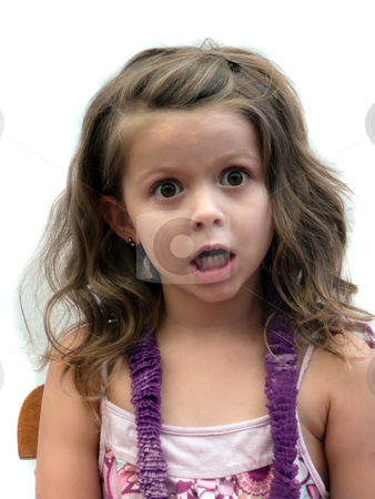 Stunned little girl stock photo, Girl with jaw dropped by Corinna Walby