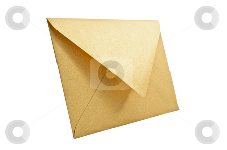Golden envelope on white background. stock photo, Golden envelope on white background, close up, studio shot. by Pablo Caridad