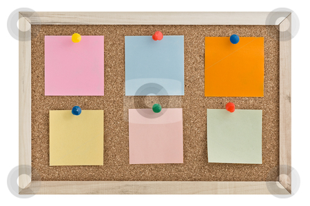 Post it notes on a cork board stock photo, Post it notes on a cork board wiht thumbtacks. by Pablo Caridad