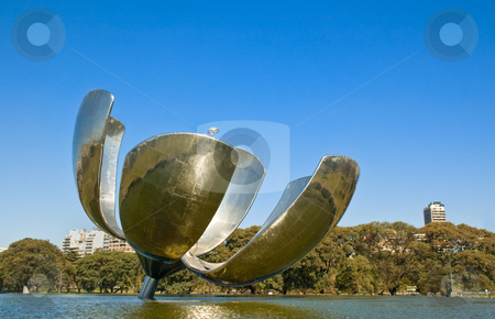 Giant metal flower sculpture, Buenos Aires, Argentina. stock photo, Giant metal flower sculpture in a park in Recolteta neighborhood, Buenos Aires, Argentina by Pablo Caridad