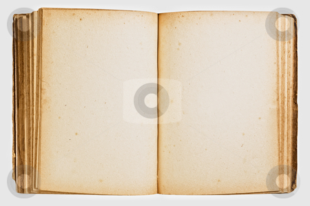 Open vintage book isolated on white stock photo, Open vintage book isolated on white background. by Pablo Caridad