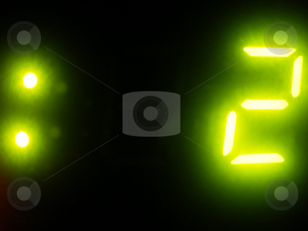 The Final Countdown stock photo, Bright Green Digits by Adrian Mace