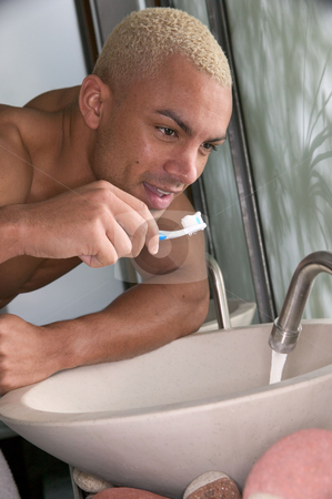 MPIXIS641046 stock photo, Man brushing his teeth by Mpixis World
