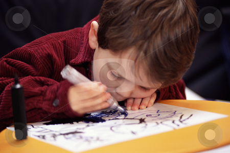 MPIXIS550990 stock photo, Boy drawing a picture by Mpixis World