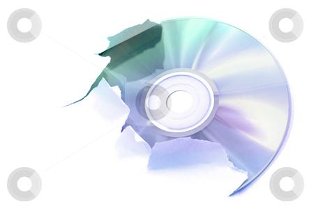 Digital creation stock photo, Laser disk tearing a white paper, illustration by Tilo