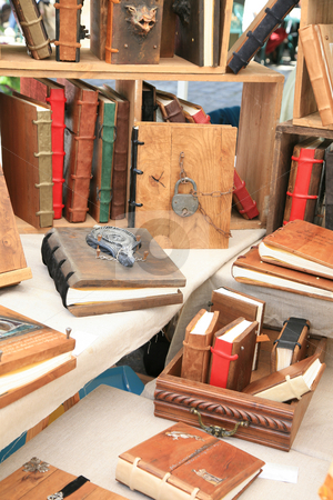 Antique books stock photo, Antique wooden books with wooden covers by Tilo