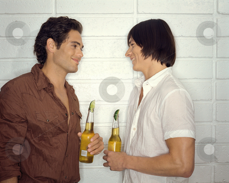 Two guys drinking stock photo, Men socialising by Mpixis World