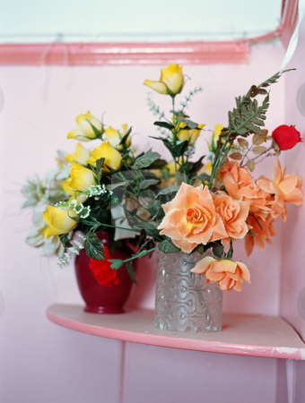 MPIXIS627016 stock photo, Plastic flowers on a shelf by Mpixis World