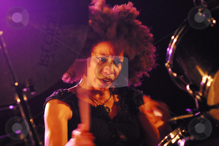 Cindy Blackman stock photo, Cindy Blackman Quartet at the Jazz Festival of Malguenac (22/08/08) by HUE Laurent
