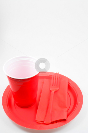 Plastic Dinnerware stock photo, Plastic dinnerware ready for a table setting. by Robert Byron