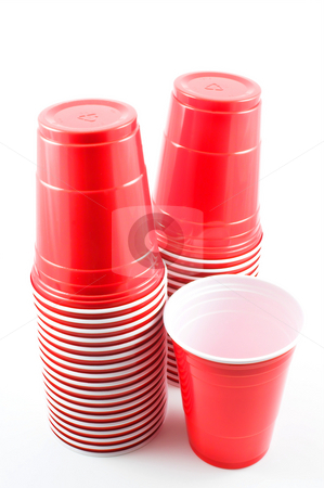 Plastic Cups stock photo, Plastic cups ready for a group of people. by Robert Byron