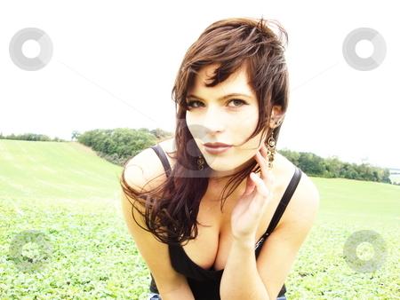 Female model in field stock photo,  by Michael Unterd?