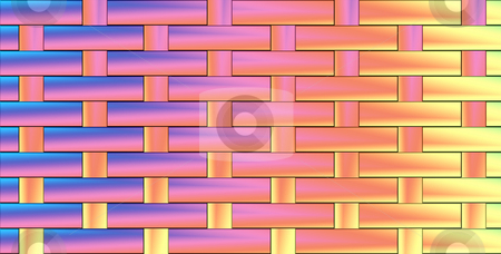 Pattern from woven pastel colours stock photo, Texture with intertwined pastel blue, pink and yellow tiles by Wino Evertz