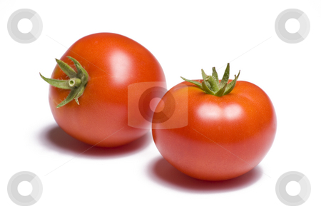 Tomato on White Background stock photo, Two vibrant tomatoes on white background by Mike Dykstra