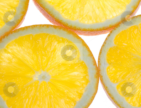 Oranges Cross Section stock photo, Sliced oranges in cross section back lit and slightly translucent by Mike Dykstra